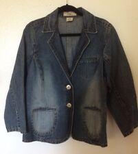 Womens Defuze Vintage Jean Blazer Jacket Stonewash Distressed 80's XL USA