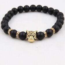 Lucky Charm Matte Black Natural Stone Bead Onyx Tiger Leopard Bracelet For Men