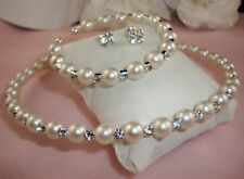CREAM  FAUX PEARL & RHINESTONE CRYSTAL CHOKER NECKLACE, EARRINGS & BRACELET SET