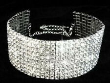 10 ROWS CLEAR RHINESTONE STRETCH Necklace Choker Wedding Bridal Prom Party