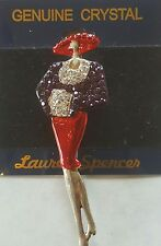 Red Hat Lady Purple Dress Lauren Spencer Brooch Pin Jewelery Genuine Crystal New