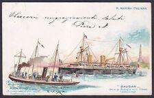 AVOLTOIO TORPEDINIERA - BAUSAN NAVE DA GUERRA - MARINA SHIP Cartolina viagg 1900