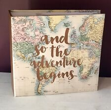 """And So The Adventure Begins Photo Album Holiday Souvenir Travel 6x4"""" Gift Map"""