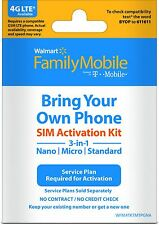 Family Mobile Sim Kit for Smart Phones Nano Micro Fit Unlocked Walmart*US SELLER