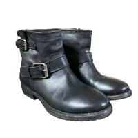 ASH Womens Ankle Buckle Motorcycle Boots Black Leather Adjustable 6.5 EUR 37