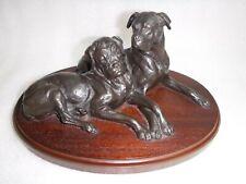 More details for doris lindner signed bulldogs cold cast bronze figurine sculpture on wood plinth