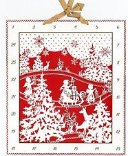 Engel im Weihnachtswald Prächtiger Scherenschnitt-Adventskalender mit Schleife