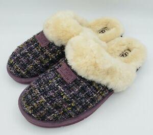 UGG Slippers Sz 10 Purple Plaid Fur Lined Open Back Hard Sole Slippers  1001630