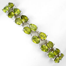 GENUINE NATURAL 7x5mm GREEN PERIDOT &W CZ 14K ON STERLING 925 SILVER BRACELET 7""