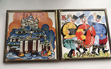 Vintage Hand Painted Russian Wall Tile x 2 Brass Frame.