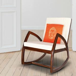 Sheesham Rosewood Upholstered Comfortable Rocking Chair Relaxing GardenRecliner