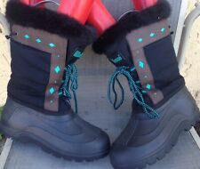 Women's LaCrosse  Fur Lined Turquoise Diamonds Black Winter Boots Size 6