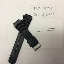 22mm Black Sport Diver watches Band Strap fits Seiko Pulsar Casio Timex + Pins