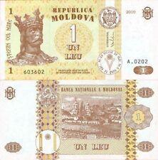 1 MOLDOVAN LEU BANKNOTE P-NEW 2010 MOLDOVA UNCIRCULATED