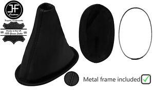 BLACK STITCH LEATHER SHIFT BOOT+METAL FRAME FOR DAIHATSU SIRION 2005-2011