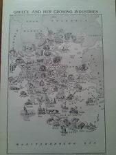 1924 Map of Developing Industries of Greece Greek 2 Small Page to Frame