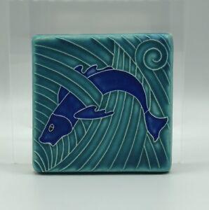 MOTAWI Tile Works Fish in Waves Art Tile /b