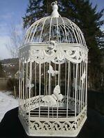 Vogelkäfig Blumenkäfig Pflanz Deko Käfig Antik-weiß Shabby 6ecki hoch 43cm eisen