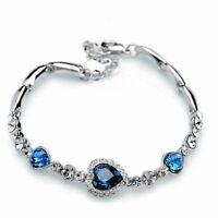 Neu Frauen Ozean Blau Kristall Strass Herz Armreif Geschenk Mode