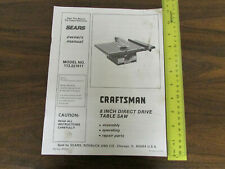Sears Owners Manual 113.221611 8-Inch Table Saw
