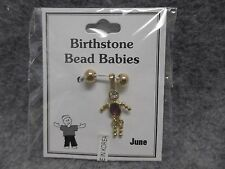 June Baby Birthstone Bead Babies Necklace Pendant Charm Gold Tone & Rhinestone