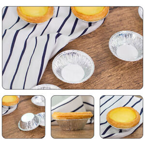 EE_ 100Pcs Disposable Round Egg Tart Mold Cupcakes Cookies Mould Kitchen Baking