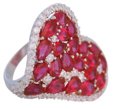 HEART RING WITH RED CUBIC ZIRCONIA 925 SILVER HALLMARKED NEW FROM ARI D NORMAN