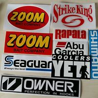 LOT of (9) Fishing Decals Fishing Stickers for Brand Lovers