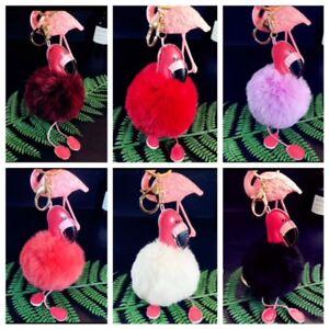 Keyring Faux Fluffy Rabbit Fur Flamingo Handbag Pendant Charm PomPom Keychain