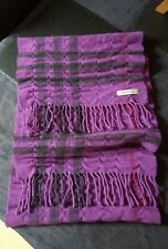 RARE BURBERRY 100% CASHMERE PURPLE GIANT NOVA CHECK HERITAGE SCARF RUCHED TRENCH