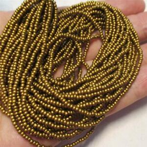 FULL hank Czech Deep Gold SILK Seed beads, 11/0