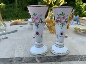 """Pair Vintage Bohemian Candlesticks Cased Overlay Cut To Cranberry & Floral 5.5"""""""