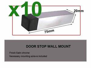 10x Door Stops Stoppers square Wall Door Mounted satin chrome