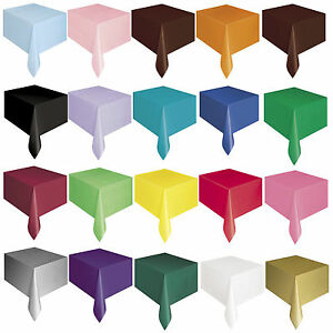 PLASTIC TABLECOVERS Table Cloth Cloths Party Birthday Rectangle Oblong 20 Colour