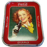 Coca Cola Serving Tray Coke Red Head Girl Yellow Scarf 1950 Heavy Tin Original