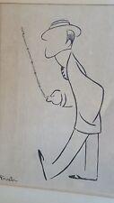 Antique Alfred J Frueh Etching Drawing Print George M Cohan Framed