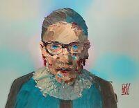"ORIGINAL Abstract Ruth Bader Ginsburg Memorial PortraIt Art Painting Justice 14"""