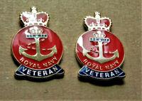 2 x ROYAL NAVY VETERAN MILITARY BRITISH ENAMEL PIN BADGE BRAND NEW