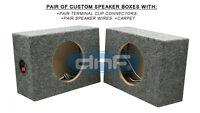 """1 PAIR CUSTOM 6-1/2"""" SQUARE SPEAKER BOX (CARPET + TERMINAL CUPS + SPEAKER WIRE)"""