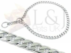 Exclusive DOG CHOKE CHAIN METAL COLLAR SLIP Extra Fine chrome plated brass