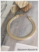 Bracelet Maille Anglaise 18CM X 6 MM Plaqué Or 18 Carats Bijoux Femme