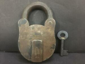 ANTIQUE VINTAGE OLD FISH MARK RARE HEAVY CHUBB'S IRON PADLOCK MADE IN LONDON