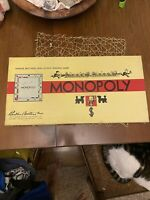 Vintage MONOPOLY BOARD GAME Parker Brothers 1946 Wooden Tokens Complete