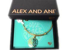 Alex and Ani Words are Powerful, Love Peace Joy Bangle Bracelet Shiny Gold NWTBC