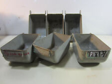6 Vintage Metal Industrial Parts Bins w/Hook Backs #3