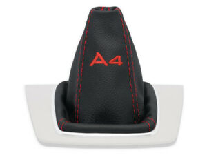 FOR AUDI A4 B6 2001-2007 GEAR SHIFT BOOT GAITER LEATHER EMBROIDERY RED