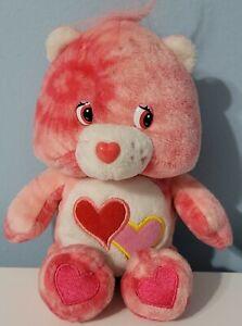 """Care Bears 8"""" Love A Lot Pink Tie Dye Plush Bean Bag Play Along EUC"""