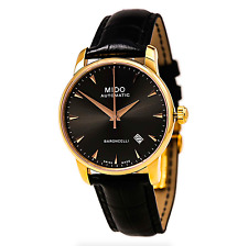 Mido M86003134 Mens Black Dial Analog Automatic Watch With Leather Strap