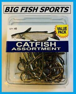 EAGLE CLAW Catfish Hook Assortment 40 HOOKS Sizes Vary #SPCAT FREE USA SHIPPING!