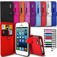 Apple iPhone Various Models Flip Wallet Book Cover Case & Retractable Stylus